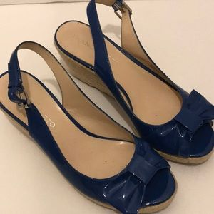Women's Franco Sarto blue wedges with bow